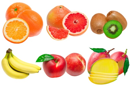 different fruits isolated on white background photo