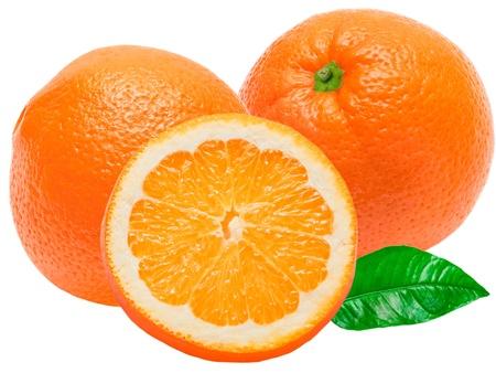 orange slice: oranje op een witte achtergrond Stockfoto