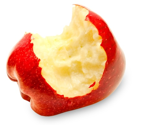Bitten red apple isolated on white background