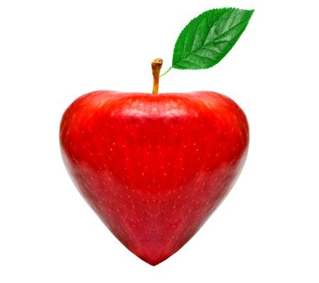 red apple in heart shape photo
