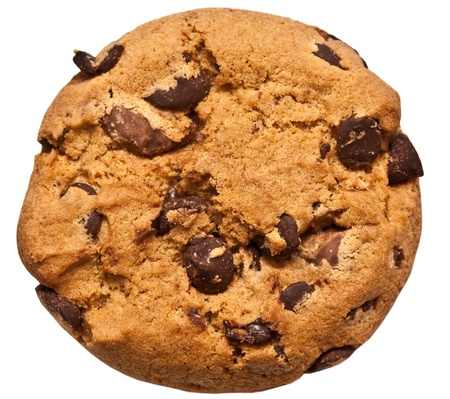 chocolate chip: chocolate chip cookie isolated on white background Stock Photo
