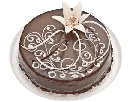 케이크: 흰색 배경에 고립 된 초콜릿 케이크