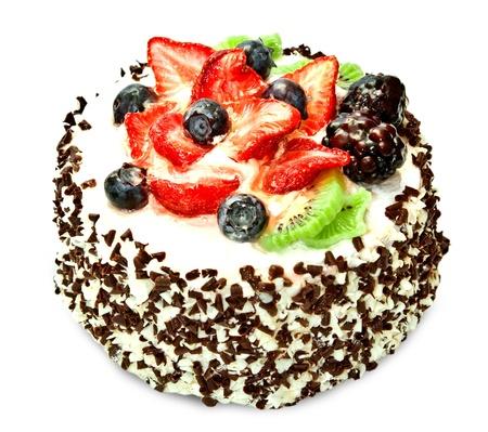 Chocolate cake with strawberry, isolated on white background Stock Photo - 13416219