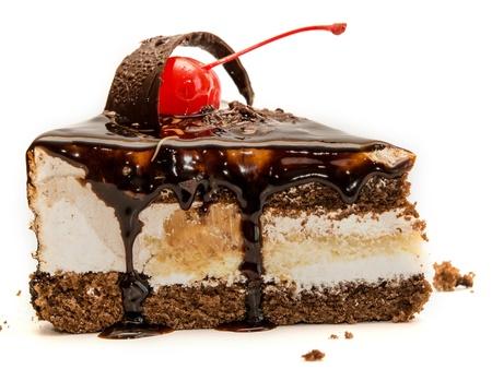 chocolate cake: Chocolate cake isolated on white background