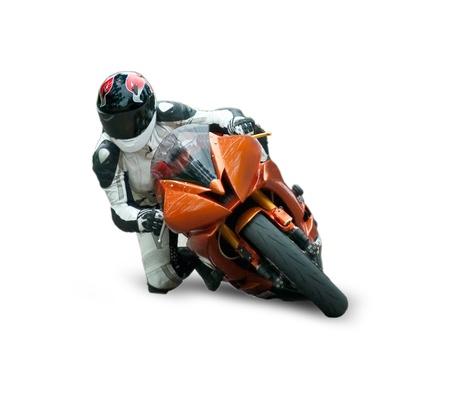 casco moto: Corredor de la motocicleta aislado sobre fondo blanco