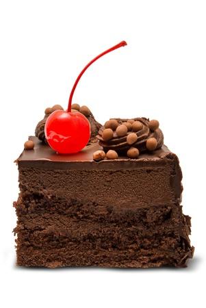 rebanada de pastel: Pastel de chocolate aisladas sobre fondo blanco