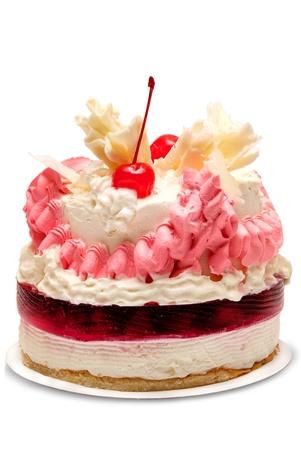trozo de pastel: Pastel aislada sobre fondo blanco Foto de archivo