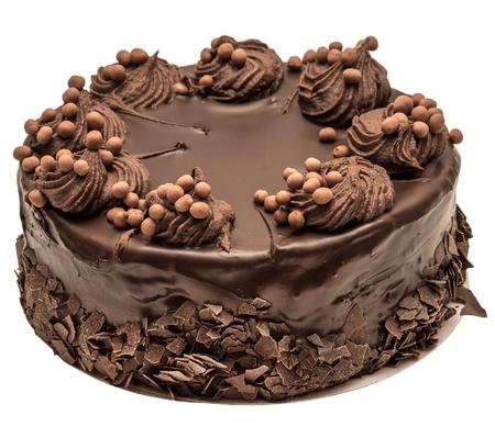 pasteles de cumpleaños: Pastel de chocolate aisladas sobre fondo blanco