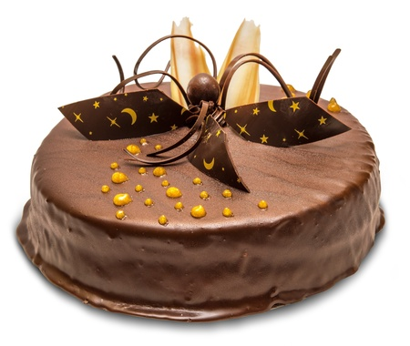 trozo de pastel: Pastel de chocolate aislado en el fondo blanco