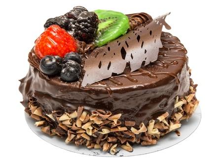 slice cake: Torta di cioccolato isolato su sfondo bianco Archivio Fotografico