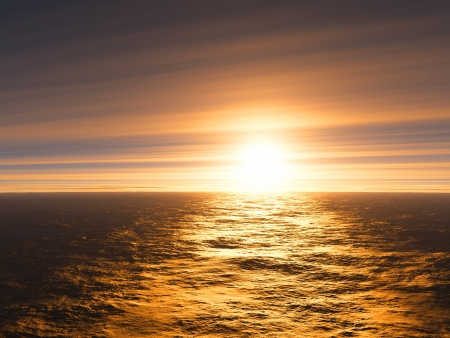 Sunset with clouds at sea photo