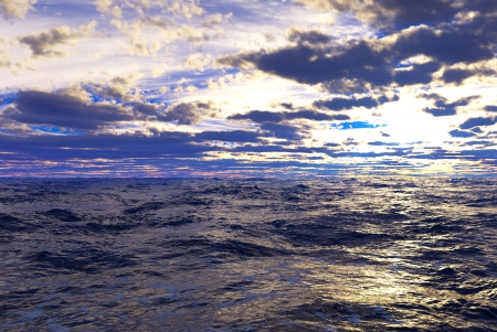 Sunset with clouds at sea Stock Photo - 17580563