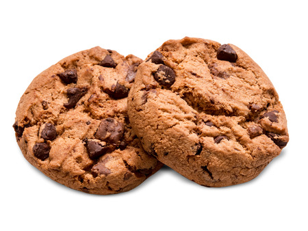 chocolate chip cookie: chocolate chip cookie isolated on white background Stock Photo