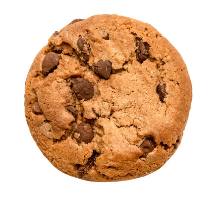 chocolate chip cookie isolated on white background 版權商用圖片