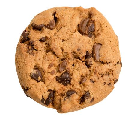 chocolate cookie: galleta de chispas de chocolate aislado en fondo blanco