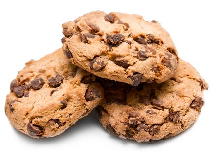 Chocolate chip cookie geïsoleerd op witte achtergrond