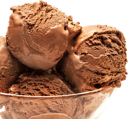 chocolate ice cream: Ice cream isolated on white background Stock Photo