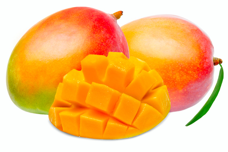 mango: Soczysty deser mango na białym tle Zdjęcie Seryjne