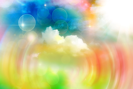sunny season: Bright vivid colorful sunny abstract bokeh background Stock Photo