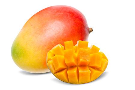 Juicy dessert mango isolated on white background Stock Photo