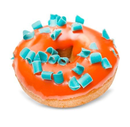 Donut isolated on white background close up