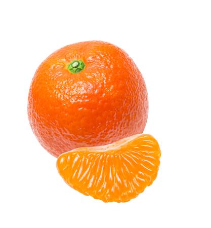 Juicy orange tangerine isolated on white background