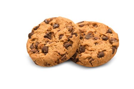 Biscuit aux pépites de chocolat isolé sur fond blanc Banque d'images