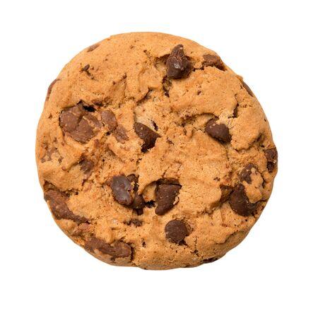 Biscotto di pepita di cioccolato isolato su bianco