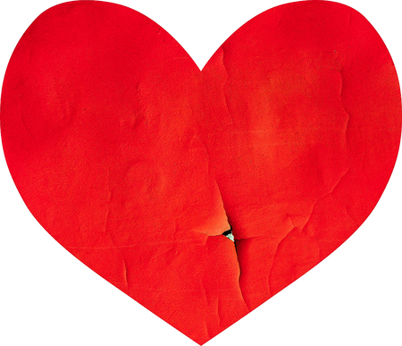 Red old weathered paint heart shape Stock Photo