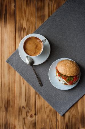 Coffee and sandwich, delicious breakfast, top view Banco de Imagens