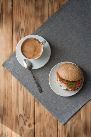Coffee and sandwich, delicious lunch, top view Banco de Imagens