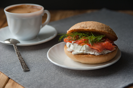 Coffee and sandwich, delicious lunch