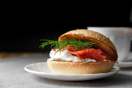 Sandwich with salmon and cream cheese Banco de Imagens
