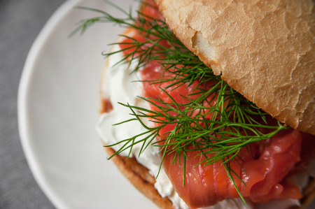Sandwich with salmon and cream cheese, macro closeup Banco de Imagens