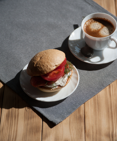 Coffee and sandwich, a delicious breakfast