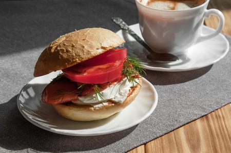 Coffee and sandwich, a delicious lunch Banco de Imagens