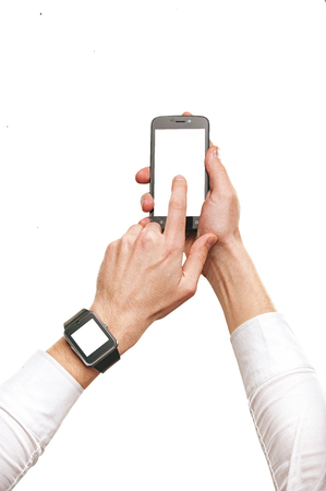 Man hands using smartphone and smartwatch, isolated mock-up