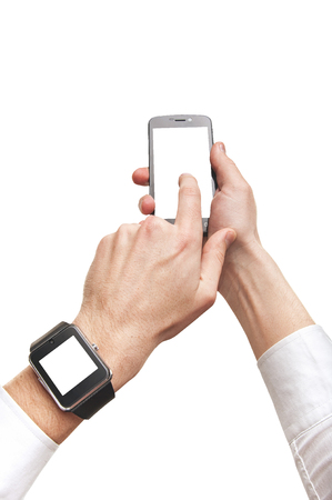 Mans hands using smartphone and smartwatch, mock-up