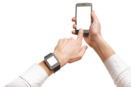 Mans hands using smartphone and smartwatch, isolated mockup