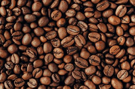 Roasted coffee beans, closeup Banco de Imagens