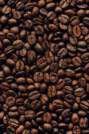 Roasted coffee beans, top view