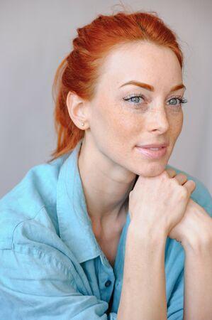 Beautiful woman dreaming, closeup portrait