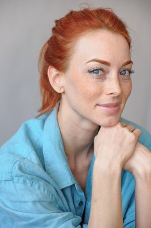 Beautiful smiling woman, closeup portrait