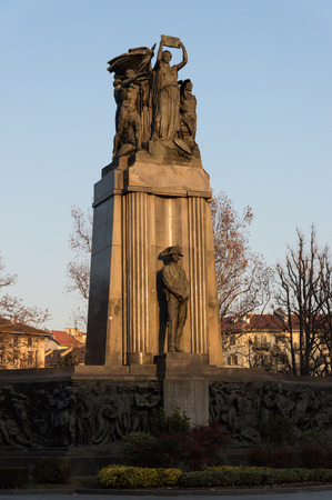 blu sky: Carabinieris monument in Turin Piedmont Italy