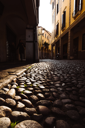 Old city center street view in Padua Italy Stock Photo