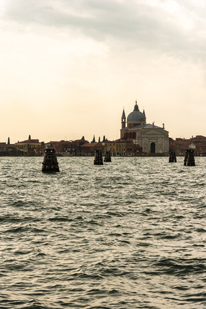View of the church of the Holy Redeemer from the old custom house, Venice Italy Imagens