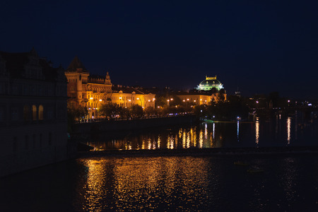 Night view of the National Theatre in Prague Czech Republic