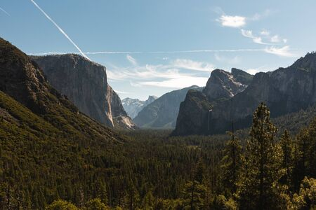 View of the El Capitan and the Half Dome from Tunnel View in Yosemite California