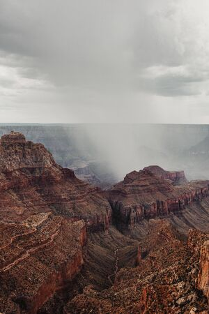 View of the North Rim Grand Canyon under the rain, Arizona 写真素材