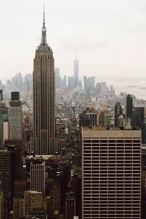 View of the Empire State Building from the Top of the Rock 写真素材